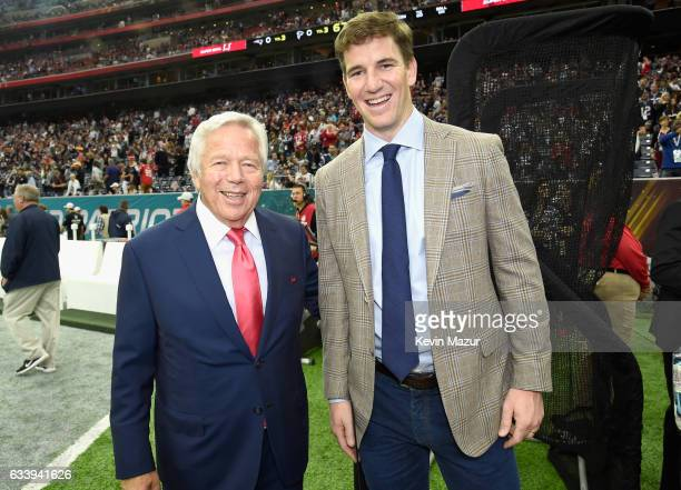 Chief Executive Officer of the New England Patriots Robert Kraft and NFL player Eli Manning attend Super Bowl LI at NRG Stadium on February 5 2017 in...