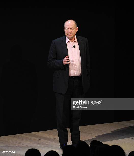 Chief Executive Officer of the New York Times Mark Thompson speaks at the 2016 New York Times' NewFronts Presentation at The Times Center on May 2...