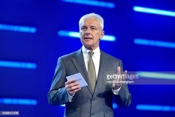 Chief Executive Officer of Volkswagen AG Matthias Mueller speaks during the Volkswagen Group Shaping The Future / Create Innovation event ahead of...