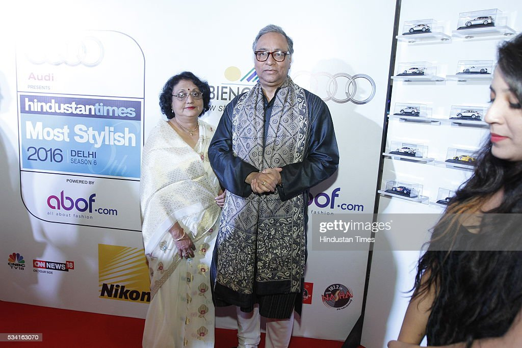 Chief Executive Officer Prasar Bharati, Jawhar Sircar with his wife Nandita Sircar arriving at red carpet for Hindustan Times Most Stylish Awards 2016 at hotel JW Marriot, Aerocity on May 24, 2016 in New Delhi, India.