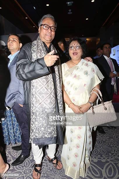 Chief Executive Officer Prasar Bharati Jawhar Sircar with his wife Nandita Sircar at Hindustan Times Most Stylish Awards 2016 at Hotel JW Marriott...