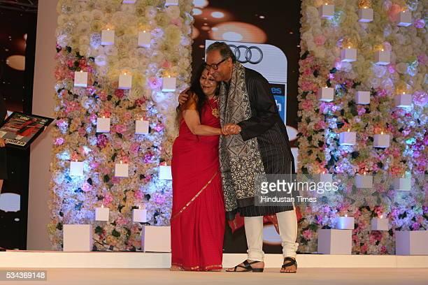 Chief Executive Officer Prasar Bharati Jawhar Sircar with Odisi dancer Sonal Mansingh at Hindustan Times Most Stylish Awards 2016 at Hotel JW...