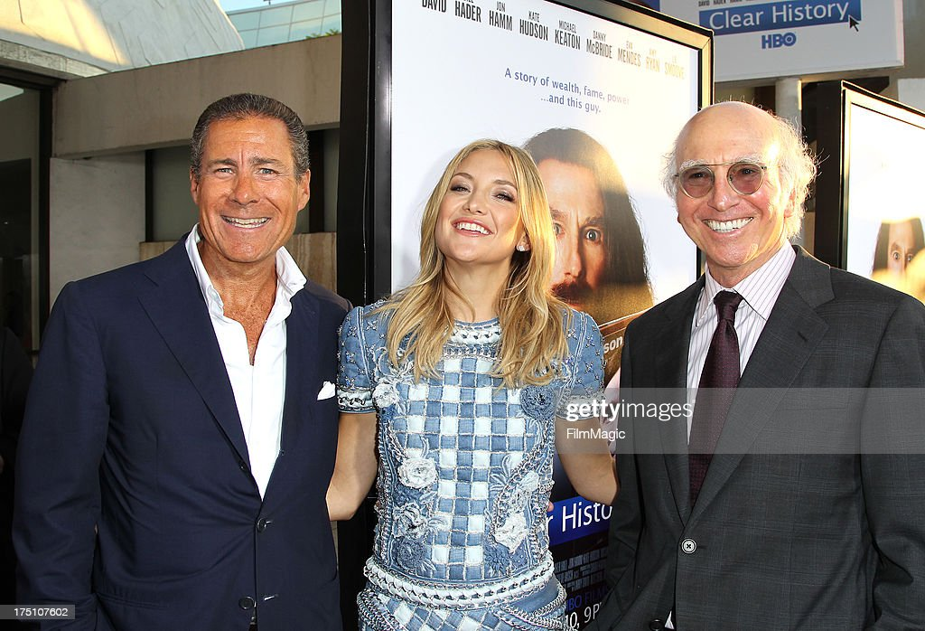 HBO Chief Executive Officer Richard Plepler actress Kate Hudson and writer/actor Larry David attend HBO's Clear History premiere at ArcLight Cinemas...