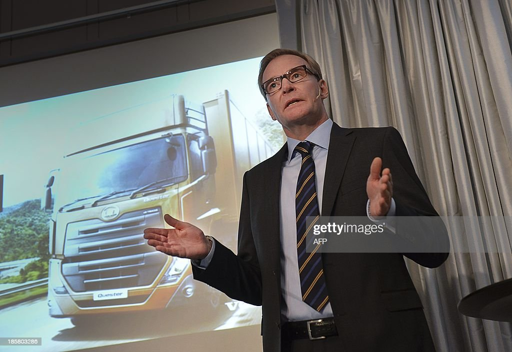 Chief Executive Olof Persson of Volvo AB truck maker gestures on October 25, 20133 during a news conference in Stockholm. Swedish industrial heavyweights Volvo trucks and Electrolux announced a total of 4,000 job cuts around the world on October 24, 2013 when they published disappointing figures for the third quarter.