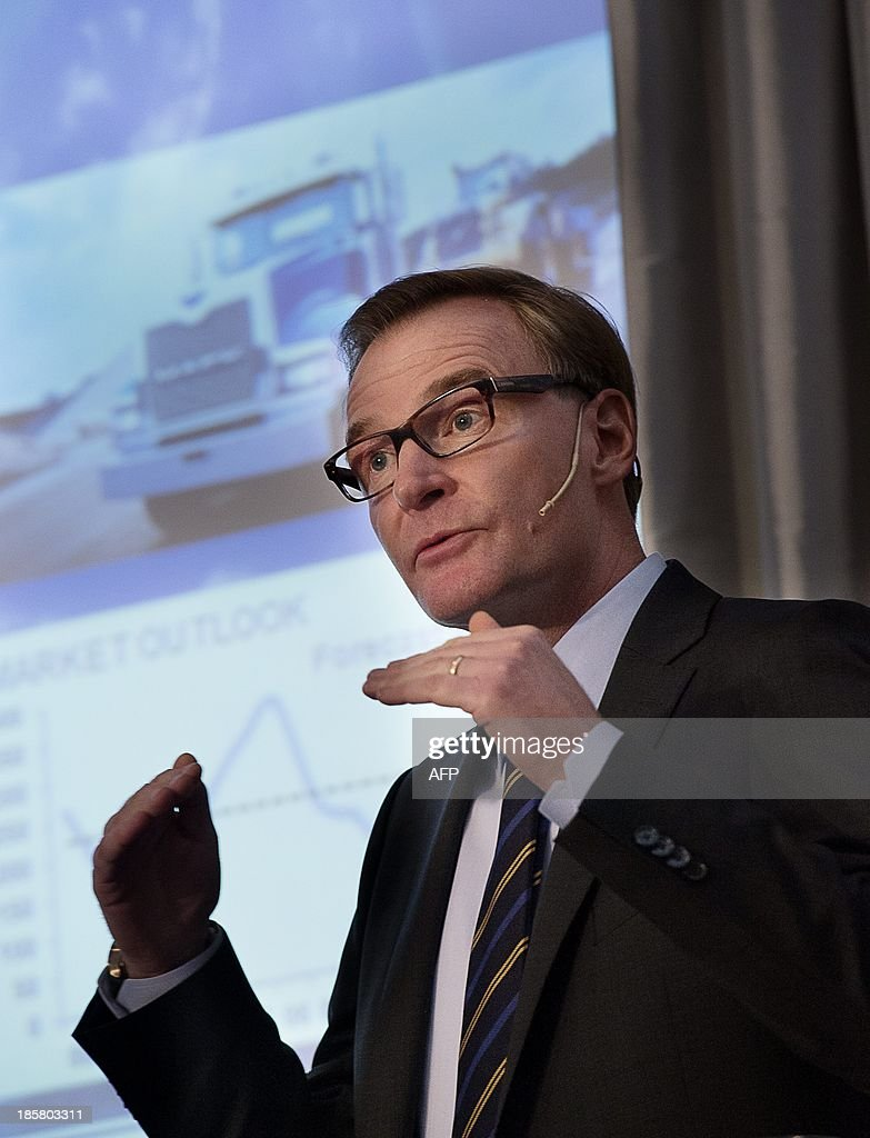 Chief Executive Olof Persson of Volvo AB truck maker speaks on October 25, 20133 during a news conference in Stockholm. Swedish industrial heavyweights Volvo trucks and Electrolux announced a total of 4,000 job cuts around the world on October 24, 2013 when they published disappointing figures for the third quarter.