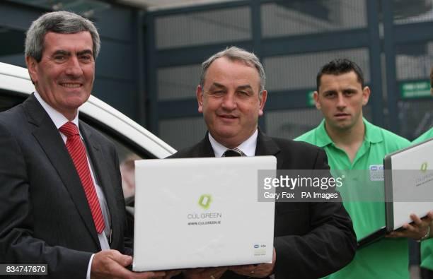 ESB Chief Executive Padraig McManus GAA President Nickey Brennan and Dublin GAA star Alan Brogan attend the launch of Cul Green website at Croke Park...