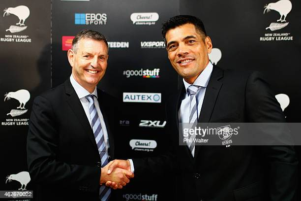 NZRL chief executive Phil Holden and Kiwi's coach Stephen Kearney shake hands during a New Zealand Kiwis press conference at NZRL House on March 27...