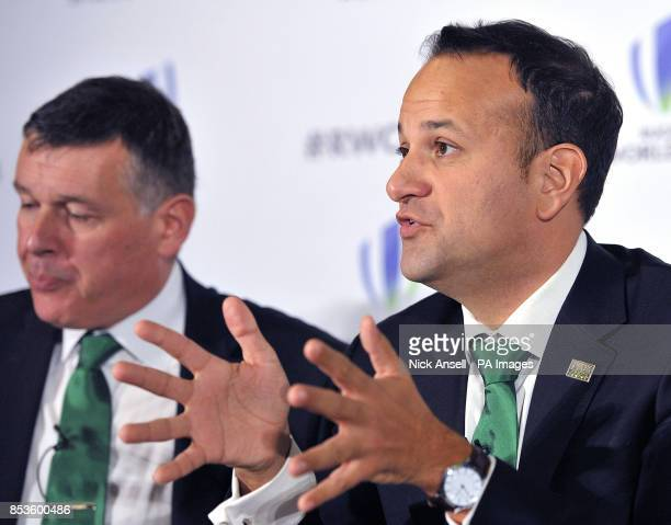 Chief Executive Philip Browne listens as Taoiseach Leo Varadkar speaks in support of the IRFU during the 2023 Rugby World Cup host candidates...