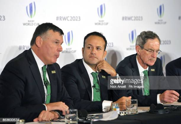 IRFU Chief Executive Philip Browne Taoiseach Leo Varadkar and Dick Spring Chairman Ireland 2023 Oversight Board during the 2023 Rugby World Cup host...