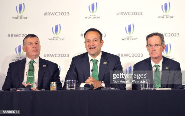 IRFU Chief Executive Philip BrowneTaoiseach Leo Varadkar and Dick Spring Chairman Ireland 2023 Oversight Board during the 2023 Rugby World Cup host...