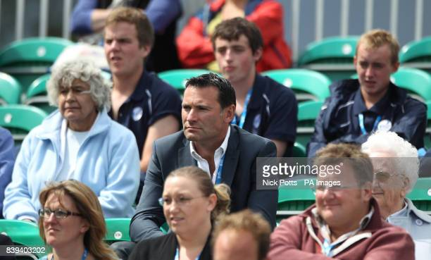 LTA Chief Executive Roger Draper sits inthe stands to watch Great Britain's Naomi Broady during her first round 3 sets win over France's Caroline...