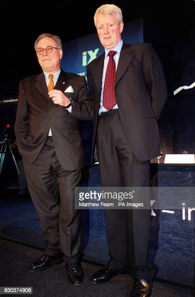 Chief Executive Werner Seifert and Chairman Don Cruickshank of a new company to be called 'iX' at a press conference in London where the London Stock...