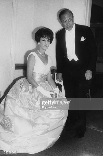 CBS chief executive William S Paley with his wife the fashion editor and socialite Barbara 'Babe' Paley at a reception before the 'April In Paris'...