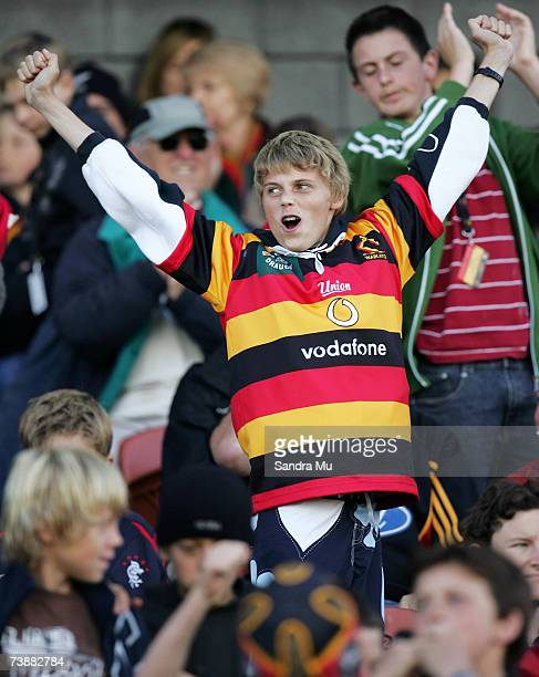 Chief fan celebrates a try during the round 11 Super 14 match between the Chiefs and the Western Force at Waikato Stadium April 14 2007 in Hamilton...