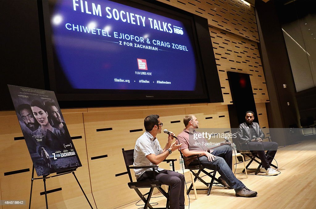 Chief film critic for Indiewire Eric Kohn director Craig Zobel and actor Chiwetel Ejiofor attend the 2015 Film Society of Lincoln Center Summer Talks...