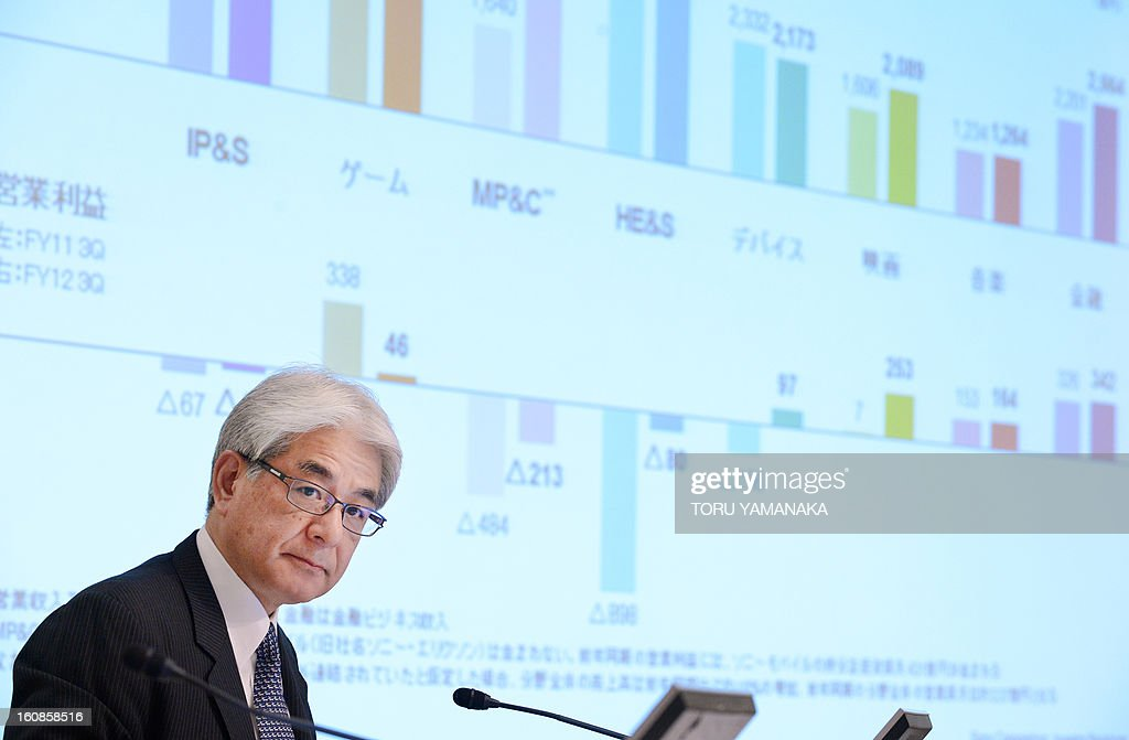 Chief financial officer of Japan's electronics giant Sony Corporation Masaru Kato answers questions during a press conference in Tokyo on February 7, 2013. Sony said on February 7 that its net loss from April to December shrank 75 percent on-year and added that it remains on track to achieve its forecast of a full-year profit. AFP PHOTO/Toru YAMANAKA