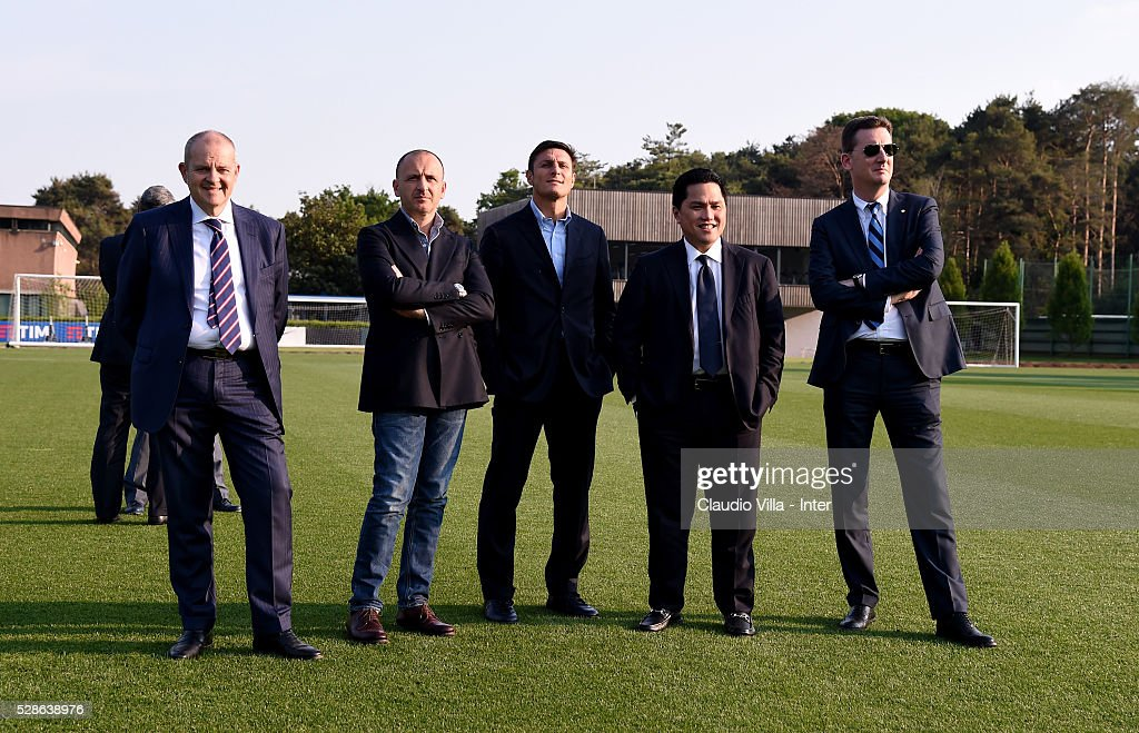 Chief Football Administrator Giovanni Gardini, Sporting Director Piero Ausilio, Vice President Javier Zanetti, President Erick Thohir and Chief Communications Officer Robert Faulkner attend the FC Internazionale training session at the club's training ground at Appiano Gentile on May 6, 2016 in Como, Italy.