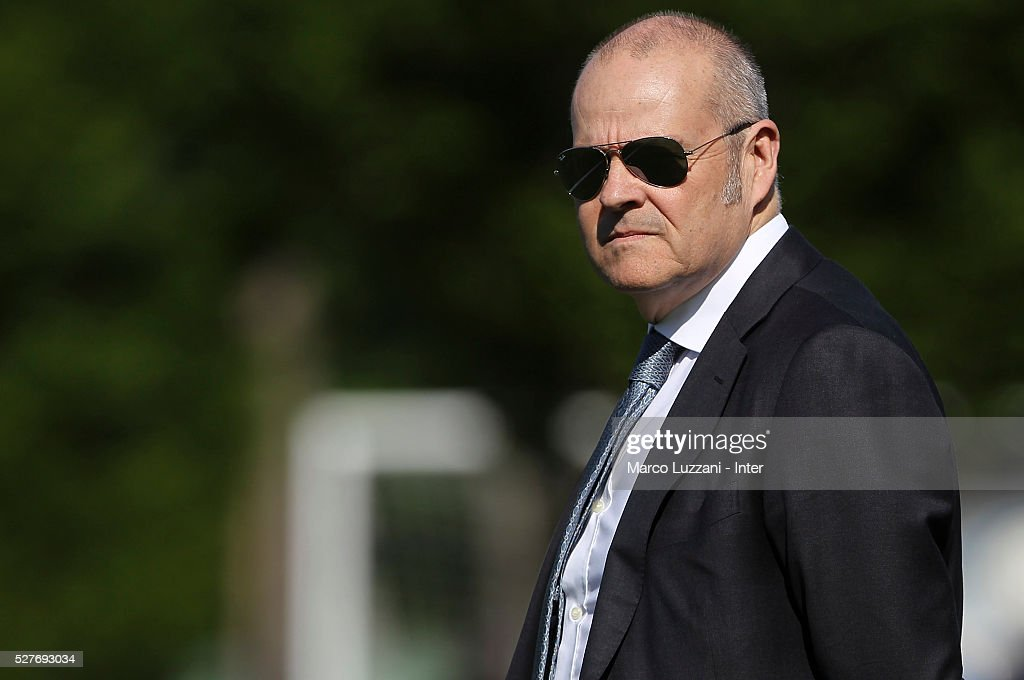 Chief Football Administrator of FC Internazionale Milano Giovanni Gardini looks on during the FC Internazionale training session at the club's training ground 'La Pinetina' on May 3, 2016 in Como, Italy.