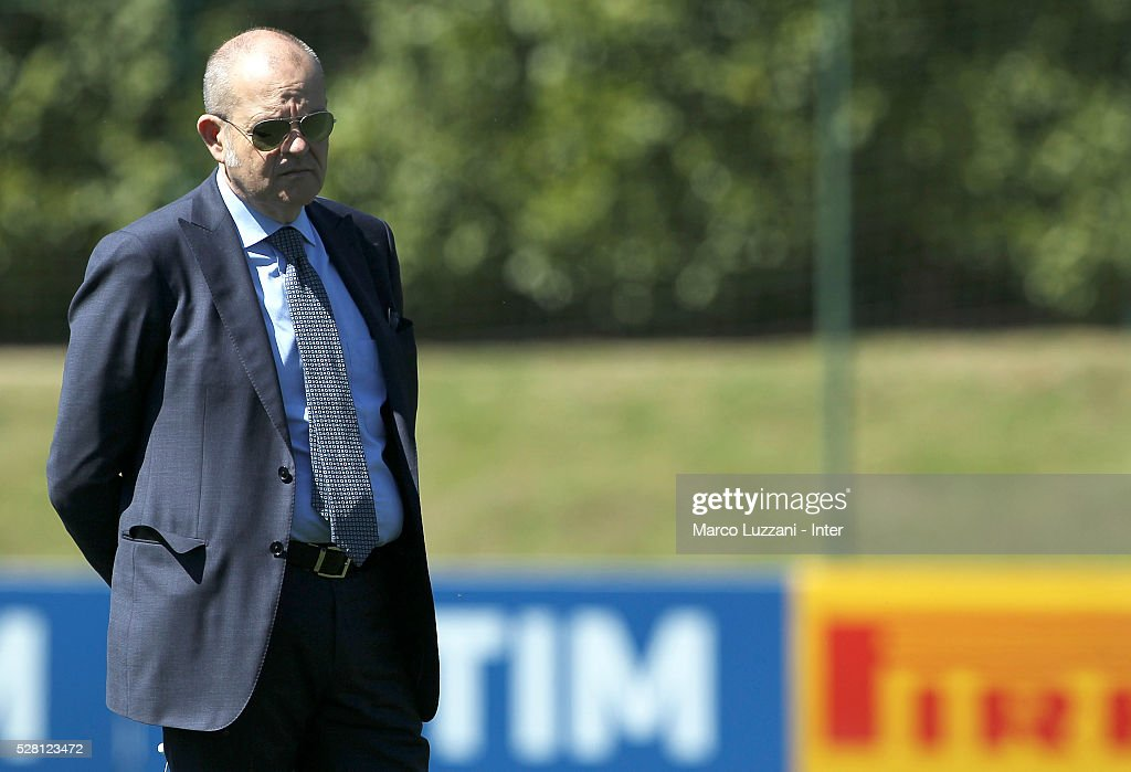 Chief Football Administrator of FC Internazionale Milano Giovanni Gardini looks on during the FC Internazionale training session at the club's training ground 'La Pinetina' on May 4, 2016 in Como, Italy.