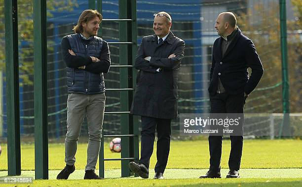 Chief Football Administrator of FC Internazionale Milano Giovanni Gardini and Sportif Director of FC Internazionale Milano Piero Ausilio look on...