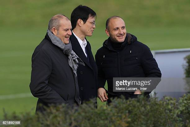 Chief Football Administrator of FC Internazionale Milano Giovanni Gardini CEO of FC Internazionale Milano Jun Liu and Sportif Director of FC...