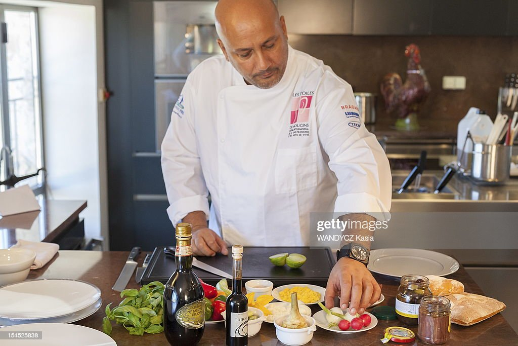 Chief Frederic Anton competing for the prize 'les étoiles de Mougin' with a special recipe of Pan Bagnat during the 7th International Food Festival in Mougins on october 14, 2012 in Mougins on the Cote d'Azur.