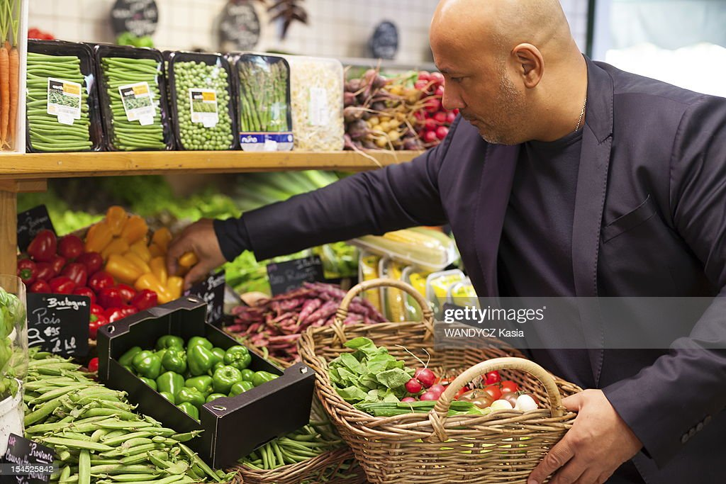 Chief Frederic Anton selects ingredients for special recipe of Pan Bagnat for the prize 'les étoiles de Moulin' during the 7th International Food Festival in Mougins on october 15, 2012 in Mougins on the Cote d'Azur.