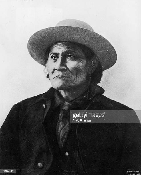 Chief Geronimo of the Apache tribe of Native Americans photographed in captivity