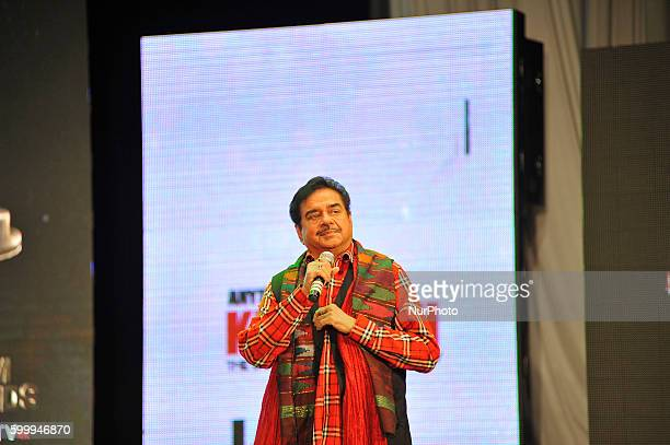 Chief guest Bollywood actor Shatrughan Sinha talks about his autobiography titled quotAnything but Khamoshquot during LG Film Awards 2016 at the...