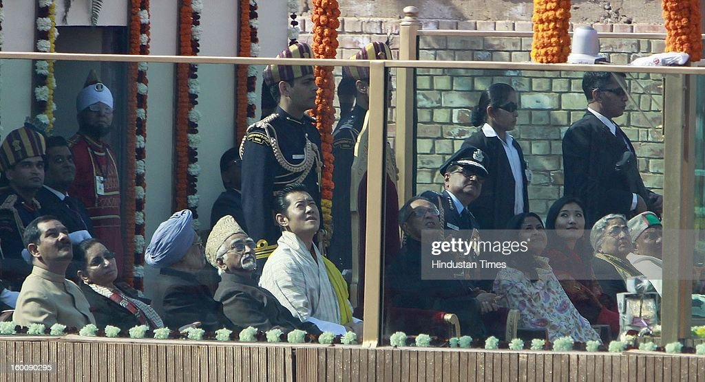 Chief Guest King of Bhutan, Jigme Kheser Namgyel Wangchuck, President Pranab Mukherjee, Vice President M Hamid Ansari and Prime Minister Manmohan looking Indian Air Force's Russian-made Sukhoi-30 aircrafts fly past during the 64th Republic Day parade celebration at Raj path on January 26, 2013 in New Delhi, India. India marked its Republic Day with celebrations held under heavy security, especially in New Delhi where large areas were sealed off for an annual parade of military hardware.
