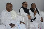 JD chief HD Deve Gowda JD Chief Sharad Yadav and Samajwadi Party Chief Mulayam Singh Yadav during a meeting formation of a new alliance at residence...