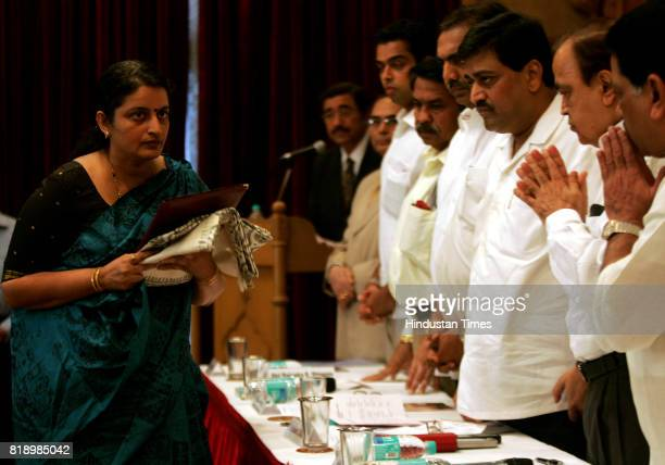ATS chief Hemant Karkare's wife Kavita at distribution of CNG agency held at Shaydhri guest house in Mumbai on Sunday
