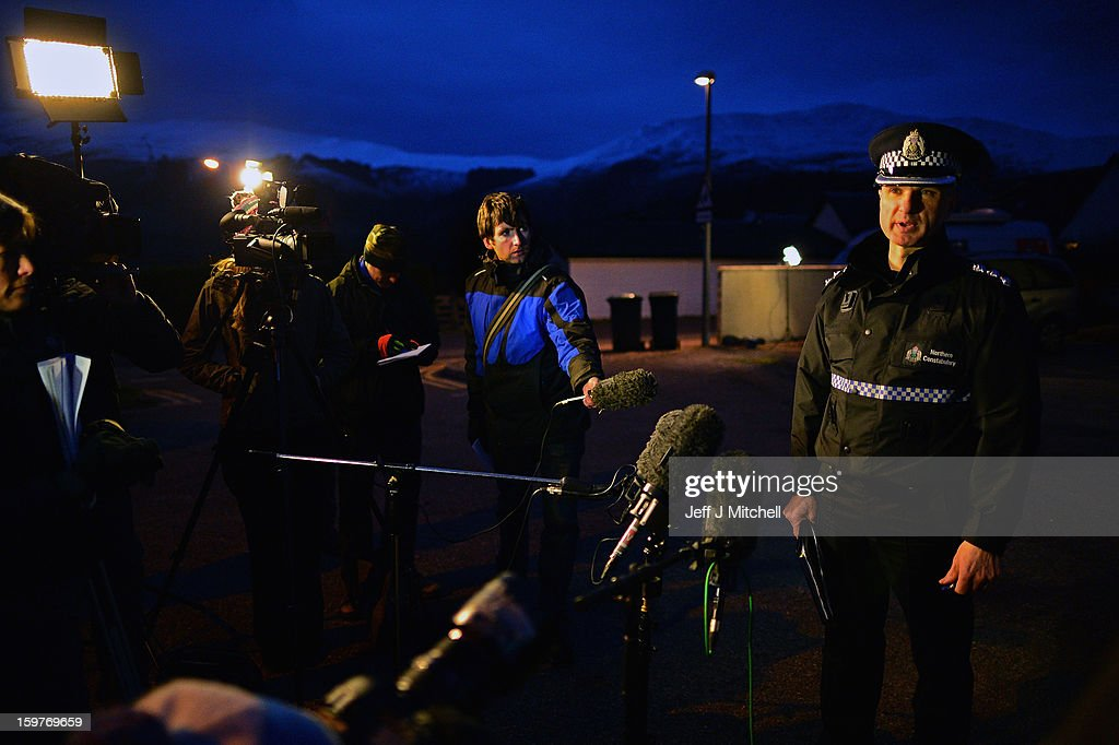 Chief Inspector Derek Paterson from Northern Constabulary makes a statement to members of the media outside Glencoe Mountain Rescue on January 20,2012 in Glencoe, Scotland. Four climbers were killed yesterday following an avalanche on Bidean Nam Bian in Glencoe. A party of six, three men and three women were descending close to Church Door Buttress when the snow slope broke away.