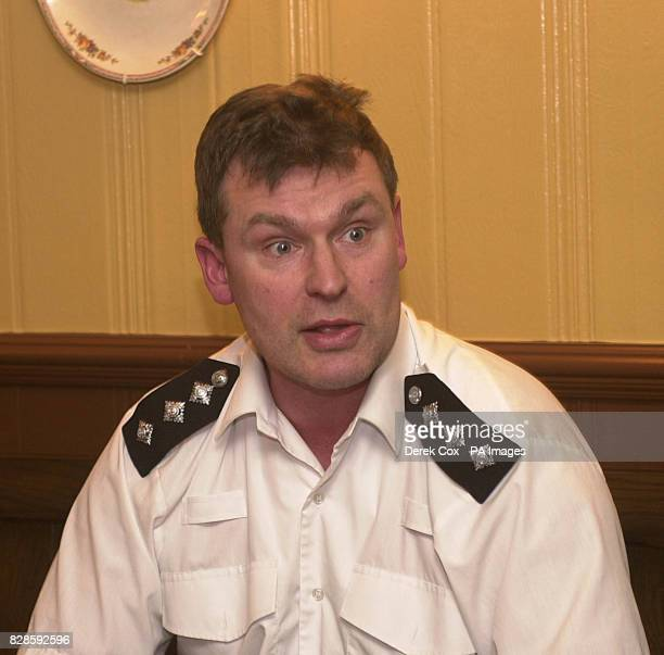 Chief Inspector Geoff Matthews from Bromley police station during a media briefing at the Blacksmiths Arms Cudham near Biggin Hill after a Bell Jet...