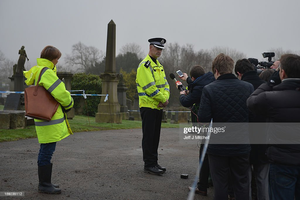 Chief Inspector Kenny MacLeod speaks to reporters following the confirmation that a grave at Old Monkton cemetery does not contain the body of missing schoolgirl Mora Anderson on January 10, 2013 in Coatbridge, Scotland. Forensic specialists have spent the past three days exhuming the family burial plot of Sinclair Upton, an acquaintance of Alexander Gartshore, a former bus driver and convicted rapist linked to the disappearance of Moira. The 11-year-old school girl went missing in 1957.