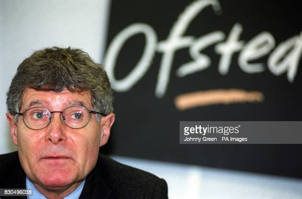 Chief inspector of schools Chris Woodhead during a press conference on Ofsted's third inspection report of Hackney LEA in London Mr Woodhead attacked...
