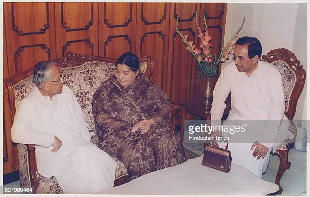 AIADMK Chief Jayalalithaa met with West Bengal Chief Minister Jyoti Basu and Janta Party leader Subramanian Swamy on April 19 1999 in New Delhi India...