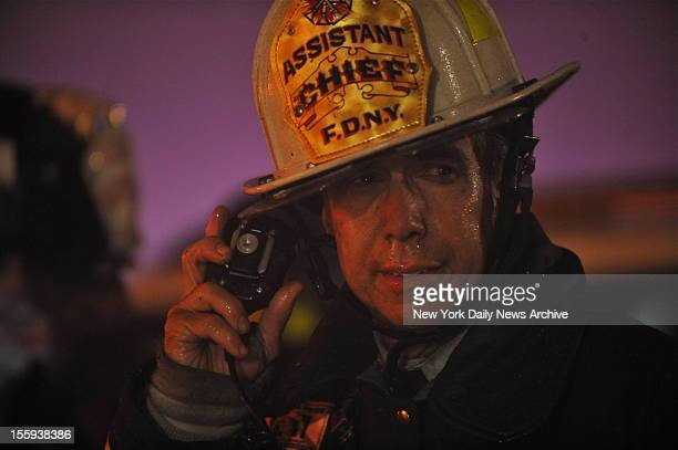 Chief Joseph Pfieffer directs the battle against the raging flames in Breezy Point Queens Massive fires destroyed 110 homes as a result of Hurricane...