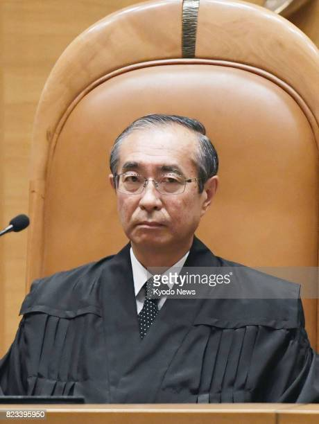 Chief Judge Hiroshi Koike sits in a courtroom at the Supreme Court in Tokyo on July 27 to hand down a ruling on Miyuki Ueda convicted of murdering...