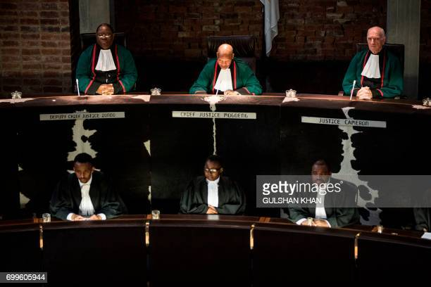 TOPSHOT Chief Justice Mogoeng Mogoeng speaks at the Constitutional Court of South Africa during judgment proceedings of the application to allow a...