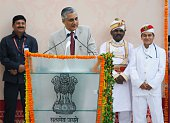 Chief Justice of India TS Thakur addresses the lawyers during an inaugural ceremony of new building of High Court on March 19 2016 in Lucknow India...