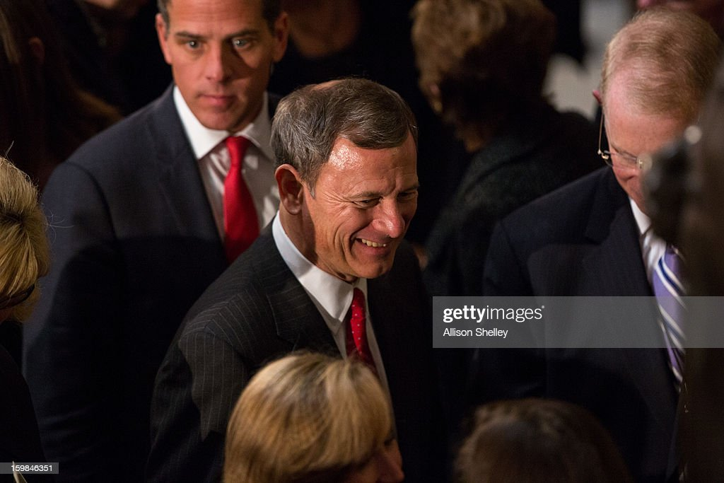 Chief Justice of the Supreme Court John Roberts Jr. leaves the Inaugural Luncheon in Statuary Hall on Inauguration day at the U.S. Capitol building January 21, 2013 in Washington D.C. U.S. President Barack Obama was ceremonially sworn in for his second term today.