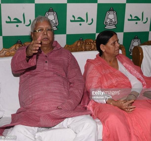 Chief Lalu Prasad with former Bihar CM and senior leader Rabri Devi Deputy CM Tejashwi Yadav and Health Minister Tej Pratap at Legislative party...