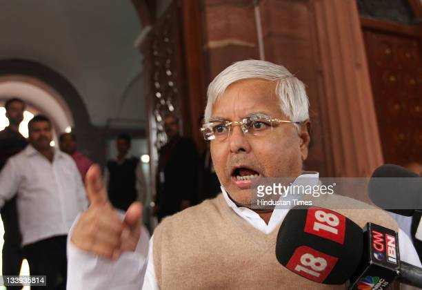 Chief Lalu Prasad Yadav addressing the media on the first day of the winter session of Parliament at Parliament house on November 22 2011 in New...