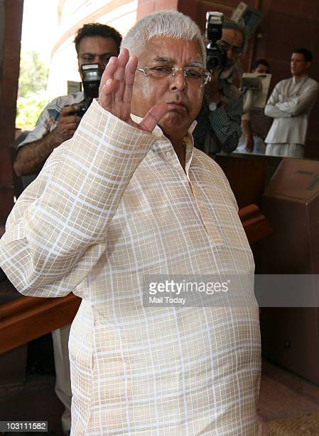 RJD chief Lalu Prasad Yadav at Parliament House on the first day of Monsoon Session in New Delhi on July 26 2010