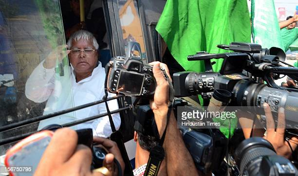 'PATNA INDIA OCTOBER 15 RJD chief Lalu Prasad Yadav during demonstration against the firing in Madhubani and demanding dismissal of Nitish's...