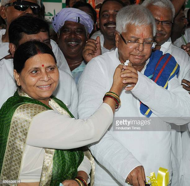 Chief Lalu Prasad Yadav Lalu Yadav celebrated his 69th birthday with his wife Rabri Devi on June 11 2016 in Patna India The veteran politician of...
