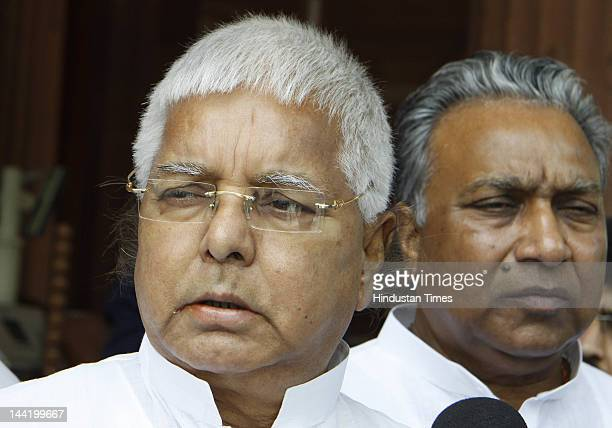 Chief Lalu Prasad Yadav leaves after attending the ongoing budget session at parliament House on May 11 2012 in New Delhi India The parliament was...