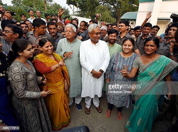 Chief Lalu Prasad Yadav Rabri Devi and Nitish Kumar after the results of the Bihar assembly elections on November 8 2015 in Patna India Nitish Kumar...