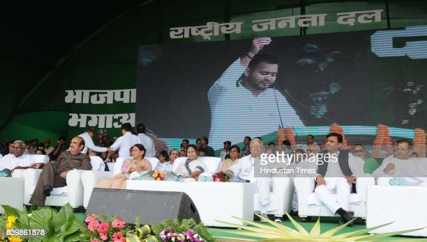 Chief Lalu Yadav with West Bangal Chief Minister Mamata Banerjee SP Chief Akhilesh Yadav and other leaders at mega rally 'BJP Bhagao Desh Bachao'...